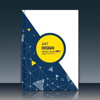 Abstract composition, circle text frame surface, white, black a4 brochure title sheet, creative font figure, logo sign construction, banner form, yellow round icon, triangle plexus flyer fiber, EPS10