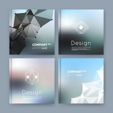 Abstract composition, grey, silver, blue business card set, info text, elegant geometric font texture, brochure title sheet, creative figure icon, crystal facets, sale flyer fiber, EPS10 banner form