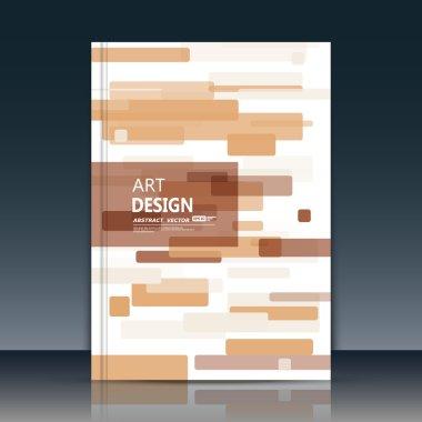 Abstract composition, brown quadrate font texture, beige square part construction, white a4 brochure title sheet, creative tetragon figure icon, commercial surface, firm banner form, EPS10 flier fiber
