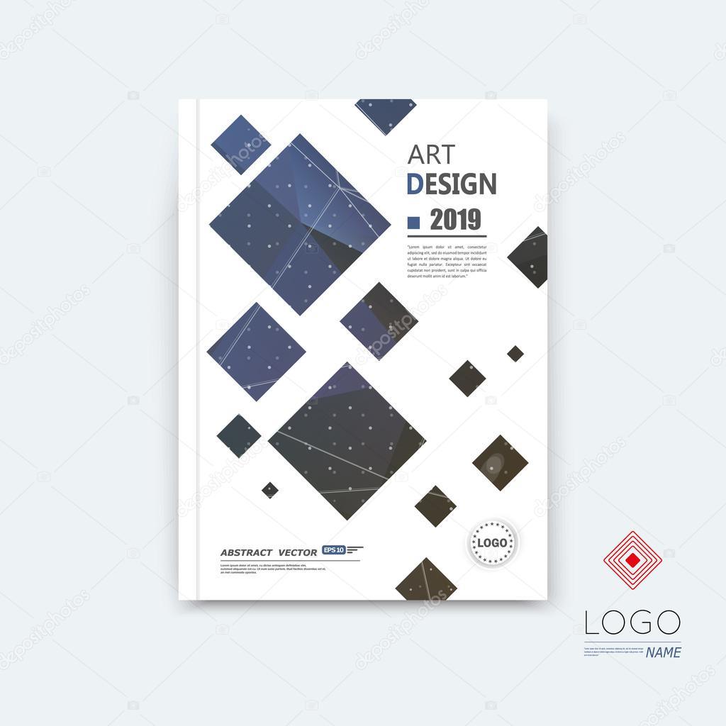 Abstract composition, blue quadrate font texture, square part construction, white a4 brochure title sheet, creative tetragon figure icon, commercial logo surface, firm banner form, EPS10 flier fiber