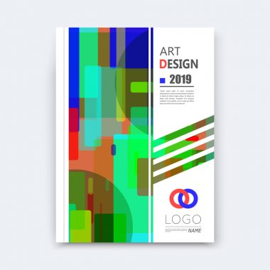 Abstract composition, patch quadrate font texture, blue, green square part construction, white a4 brochure title sheet, creative quadrangle band figure icon, commercial offer, banner form, flier fiber