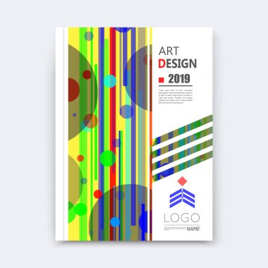 Abstract composition, patch circle font texture, blue, green round part construction, white a4 brochure title sheet, creative stripe band figure icon, lines, commercial offer, banner form, flier fiber