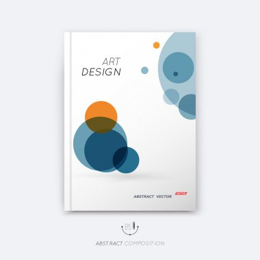 Abstract composition, text frame surface, a4 brochure title sheet, creative figure, logo sign, firm banner form, round icon miniature, blue, orange colored circle, flier fashion, EPS 10 illustration