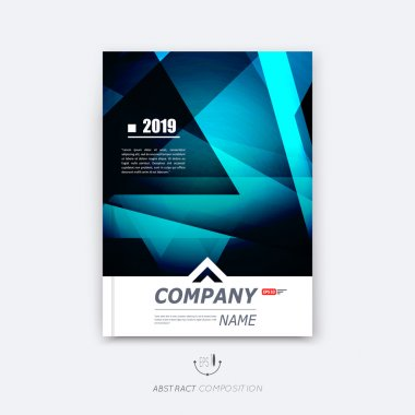 Abstract composition, blue polygonal texture, triangle part construction, line plexus, a4 brochure title sheet, creative figure icon, sapphire crystal facets, diamond surface, banner form, flyer font