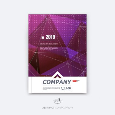 Abstract composition, purple polygonal texture, triangle part construction, cybernetic dots, line plexus, a4 brochure title sheet, creative figure icon, crystal facets surface, banner form, flyer font