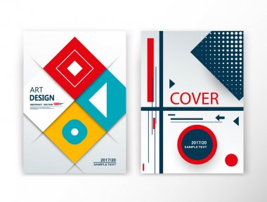 Abstract composition. Lozenge construction font texture. Red, yellow, green box block section surface. Brochure title sheet set. Creative figure vector art. Commercial offer collection. Banner form.