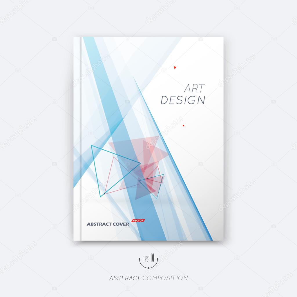 Abstract composition, red triangles font texture, blue stripe section surface, lines construction, white a4 brochure title sheet, creative figure vector art, commercial offer, banner form, flyer fiber