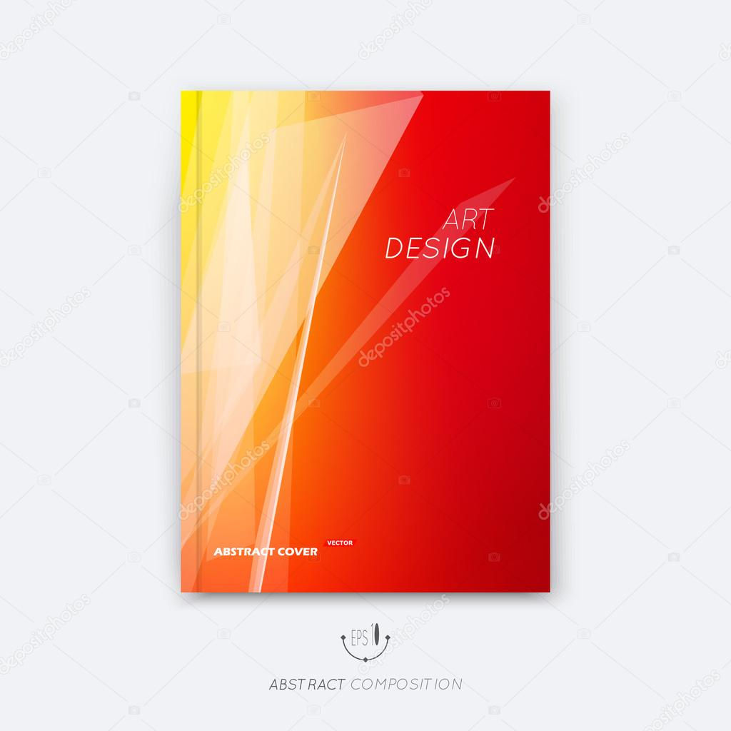 Abstract composition, yellow, orange font texture, white stripe section surface, lines construction, red a4 brochure title sheet, creative figure vector art, commercial offer, banner form, flyer fiber