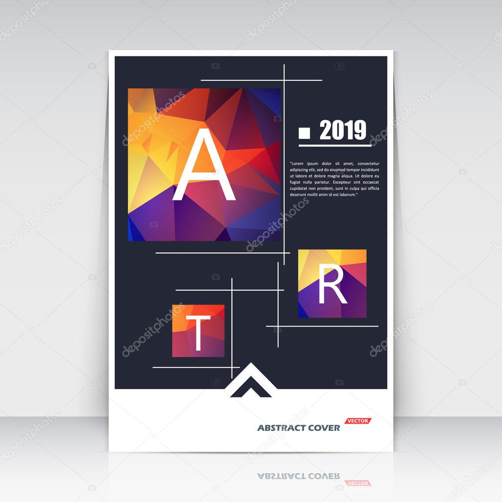 Abstract composition, red, blue, yellow square construction font texture, box block section surface, black brochure title sheet, creative figure vector art, commercial offer, banner form, flyer fiber