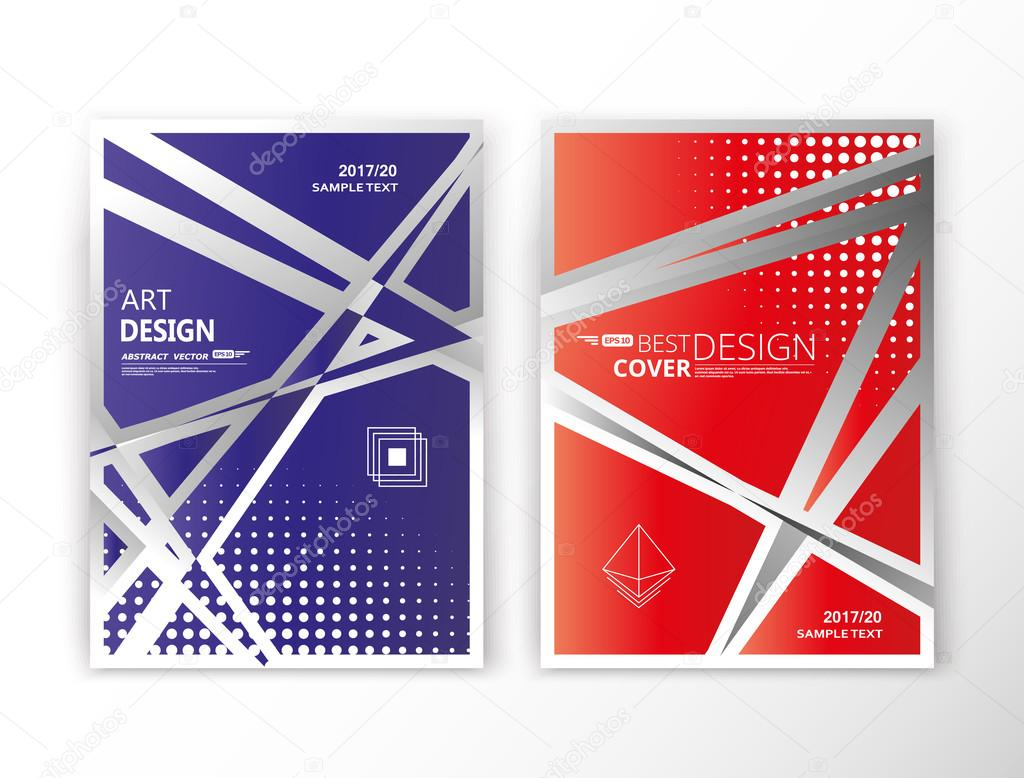 Abstract composition. Blue, red font texture. Lint section set. Dots. White line construction. A4 brochure title sheet collection. Creative figure logo icon. Commercial offer. Banner form. Flyer fiber