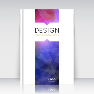 Abstract composition. Blue, purple polygonal texture. Triangle part trademark construction. Lines plexus section. White brochure title sheet. Creative figure icon surface. Banner form. Flyer font.