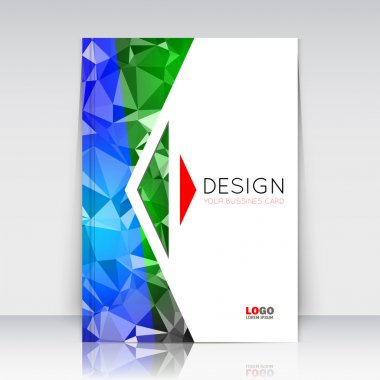 Abstract composition. Blue, green polygonal texture. Triangle part trademark construction. Lines plexus section. White brochure title sheet. Creative arrow figure icon surface. Banner form. Flyer font.