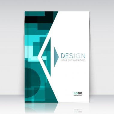 Abstract composition. Turquoise figures texture. Green circle, square, triangle part  construction. Arrow trademark section. Brochure title sheet. Creative logo icon surface. Banner form. Flyer font.