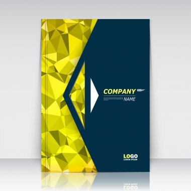 Abstract composition. Yellow polygonal flyer font texture. Triangle trademark construction. Line plexus section. Black brochure title sheet. Creative arrow figure icon surface. Infographic banner form