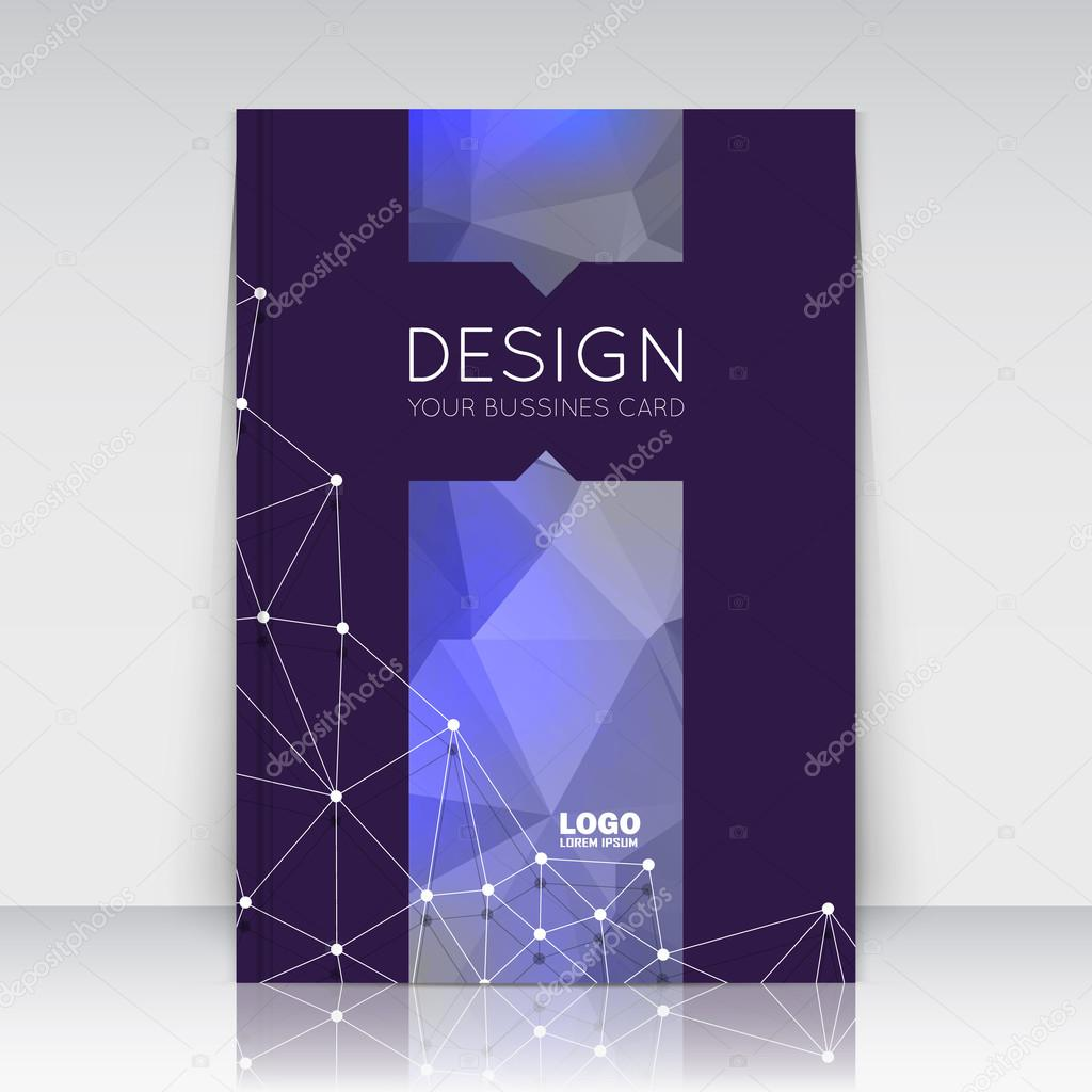 Abstract composition. Blue polygonal triangle construction texture. Cybernetic dots, lines plexus section. Black brochure title sheet. Creative figure logo icon surface. Banner form. Flyer font.