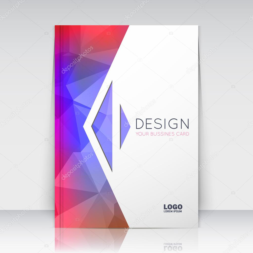 Abstract composition. Blue, pink polygonal texture. Triangle part trademark construction. Lines plexus section. White brochure title sheet. Creative arrow figure icon surface. Banner form. Flyer font.