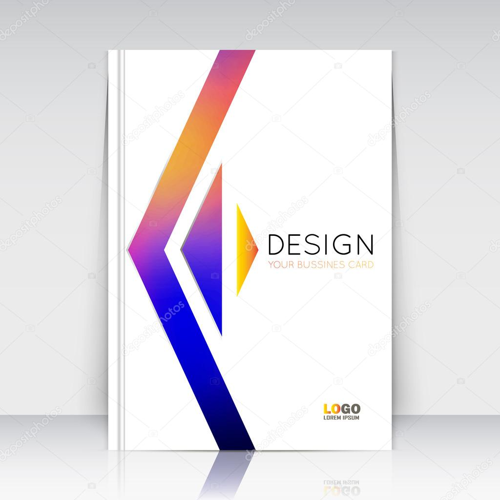 Abstract composition. Rainbow figure texture. Triangle part  construction. Arrow trademark section. White brochure title sheet. Creative logo icon surface. Light banner form. Firm identity. Flyer font