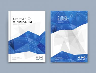 Abstract composition. Blue, white font texture. Perforated dot construction. A4 brochure title sheet. Creative grey triangle figure icon. Commercial logo surface. Points banner form. Light flier fiber