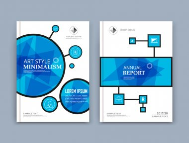 Abstract composition. Blue circle, square shapes texture. Chain parts construction. White brochure title sheet. Creative circle figure icon surface. Box block section banner form. Bubbles flyer font