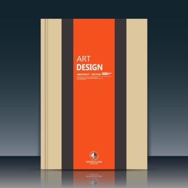 Abstract composition. Beige brochure title sheet cover. Creative logo figure flyer fiber. Ad banner form texture. Orange vertical stripe band. Text frame surface. EPS10 label icon backdrop. Vector art