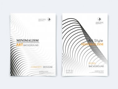 Abstract composition. Black round curl texture. Circle contour construction. Bubble parts. White a4 brochure title sheet. Creative  figure icon. Grey sphere surface. Banner form. Orb lines flyer font
