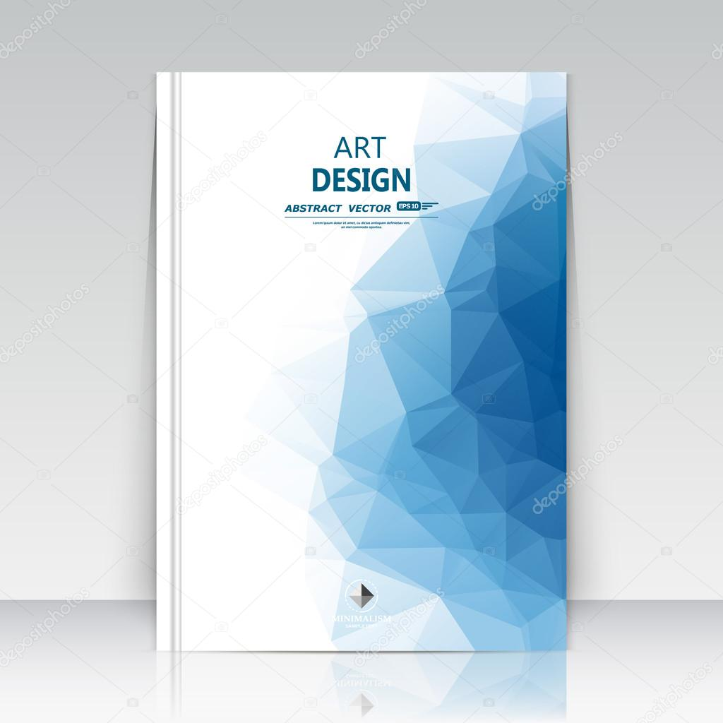 Simple Fashion Diamond Technology Brochure Cover Design: Abstract Composition. Blue Polygonal Texture. Triangle