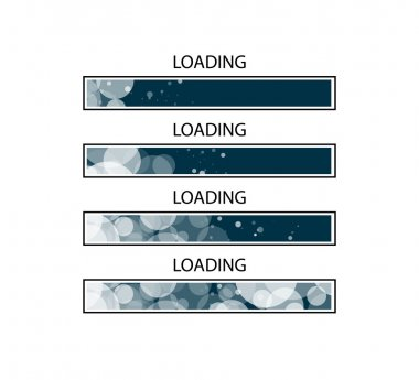 Abstract composition. Loading bar element icon. Creative web design download timer. Users completion indicator. Black background, white circle bubbles. Uploading speed symbol. Internet page progress