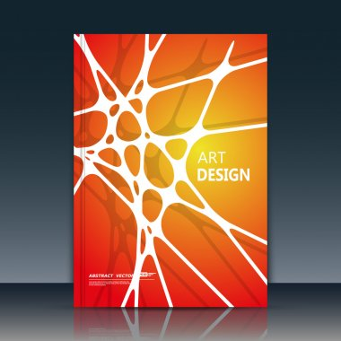 Abstract composition. White line font texture. Interlocking section trademark construction. Red, orange a4 brochure title sheet. Creative figure logo icon. Commercial offer banner form. Ad flyer fiber