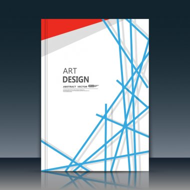 Abstract composition. Blue lines font texture. Red triangle section trademark construction. White a4 brochure title sheet. Creative figure logo icon. Commercial offer banner form. Ad flyer fiber.
