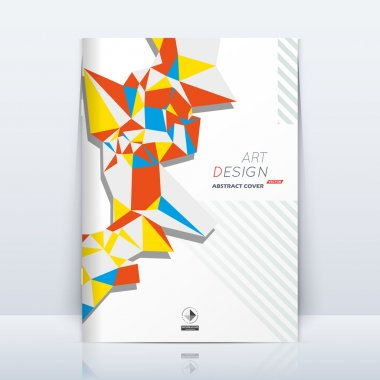 Abstract composition. Patch triangle. Brown, yellow, blue colored section trademark. White a4 brochure title sheet. Creative logo icon. Commercial offer banner form. Ad flyer fiber. Headline element