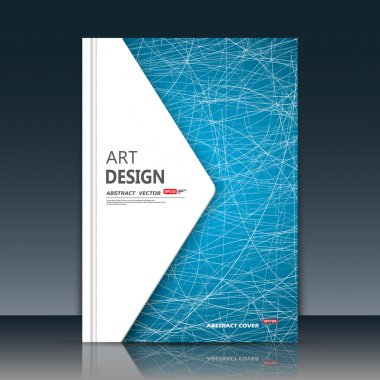 Abstract composition. Blue curve lines font texture. White triangle section trademark construction. A4 brochure title sheet. Creative figure logo icon. Commercial offer banner form. Ad flyer fiber