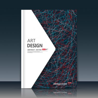 Abstract composition. Blue, red curve lines font texture. White triangle section trademark. Black a4 brochure title sheet. Creative figure logo icon. Commercial offer banner form. Ad flyer fiber