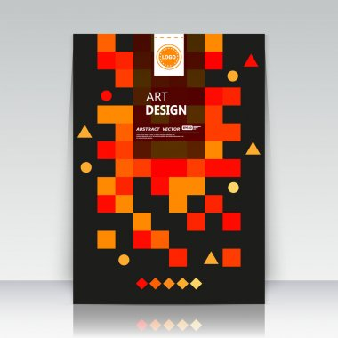 Abstract composition. Text frame surface. Brochure cover. Black title sheet. Creative logo figure. Ad banner form texture. Red, orange box blocks mosaic icon. Flyer fiber backdrop. Vector illustration