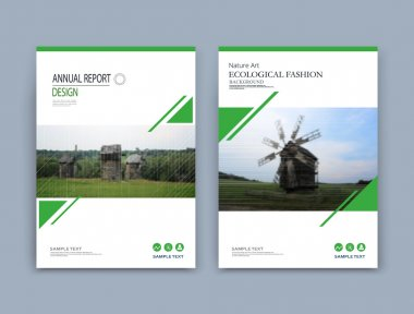 Abstract organic art. Nature a4 brochure cover design. Summer green field view icon. Village font texture. Creative eco landscape banner. Country panorama vector ad. Old wooden mill house. Bio farming