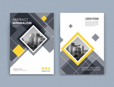 Abstract a4 brochure cover design. Text frame surface. Urban city view font. Black and white title sheet model. Creative vector front page. Ad banner texture. Yellow lozenge figure icon. Flyer fiber