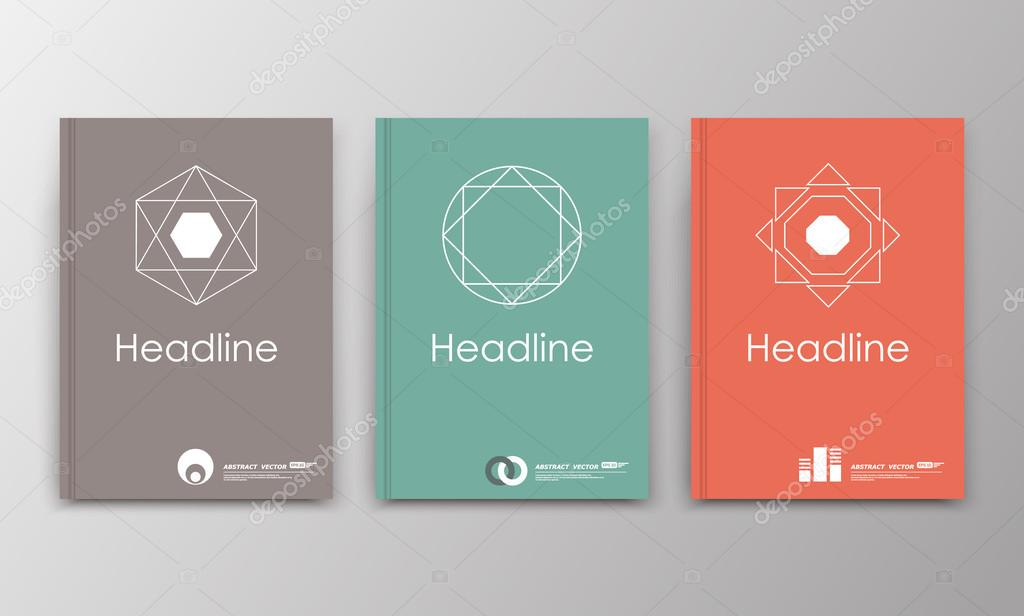 Abstract a4 brochure cover design. Grey, green, red ad frame font ...