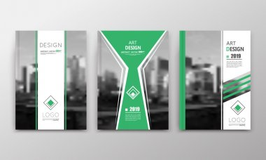 Abstract a4 brochure cover design. Text frame surface. Urban city view font. Green title sheet model. Creative vector front page. Ad banner texture. Yellow lozenge logo figure icon. Flyer fiber set