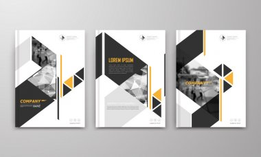 Abstract a4 brochure cover design. Text frame surface. Urban city view font. Title sheet model. Modern vector front page. Brand logo. Ad banner texture. Yellow triangle, arrow figure icon. Flyer fiber