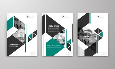 Abstract a4 brochure cover design. Text frame surface. Urban city view font. Title sheet model. Modern vector front page. Brand logo. Ad banner texture. Green triangle, arrow figure icon. Flyer fiber