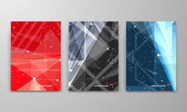 Abstract composition. Text frame surface. Black, red, blue a4 brochure cover design. Title sheet model set. Polygonal space icon. Creative vector front page. Ad banner form texture. Flyer fiber font