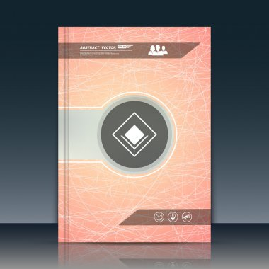 Abstract composition. Text frame surface. Orange pastel a4 brochure cover design. Title sheet model. Firm logo icon. Company symbol. Modern vector front page. Ad banner form texture. Flier fiber font