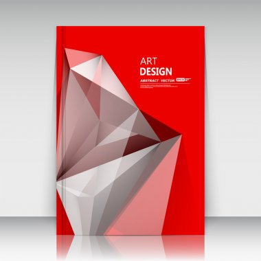 Abstract composition, text frame surface, red a4 brochure title sheet, headline elements, creative minimalistic figure, logo sign, polygonal triangle construction, firm banner form, diamond face image, fashionable EPS10 vector illustration