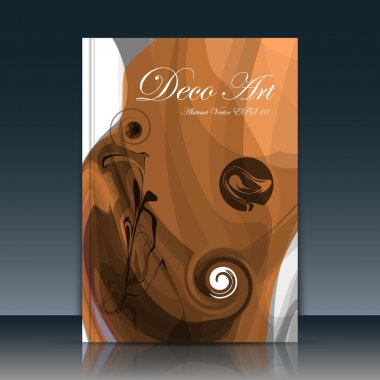 Abstract a4 brochure title sheet, swirl text frame icon, stain loop blotch deco, helix gyre figure, logo sign, paint blob, brown curve lines, umber firm banner form, blur blot, flier fashion, daily periodical issue, light chocolate EPS10 illustration