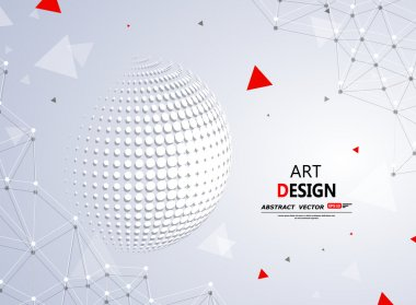 Abstract composition, 3d sphere icon, round construction, white circle, polygonal plexus, interlocking weave, startup screen saver, red triangle, technologic backdrop surface, fancy flier fashion, daily periodical issue, intro, EPS10 illustration