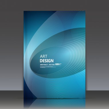 Abstract composition, blue oval contour figure, a4 brochure title sheet, circle construction icon, round text frame surface, creative logo sign, ellipse swirl firm banner form, fancy flier fashion, daily periodical issue, azure EPS10 illustration