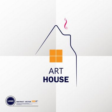 Abstract composition, art dwelling house icon, comfy box house image, housebuilding civil engineering project trademark, sweet home symbol, lodge building window, real estate company logo sign, family comfort, cosy cabin, EPS10 vector illustration