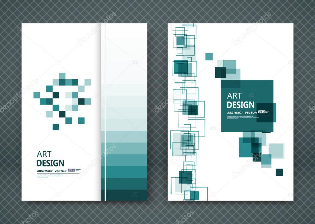 Abstract composition, font, business card set, square blocks chain ...