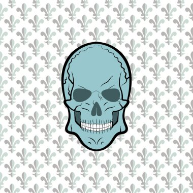 Skull vector, background lily flower