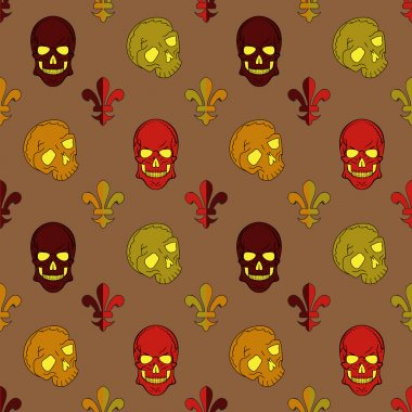 Skull vector, background lily flower, pattern