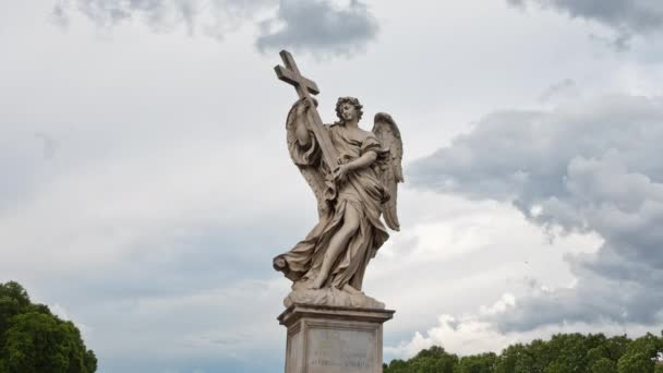 Rome Timelapse 4k - Angel with the Cross on the Bridge of Hadrian - Ponte Sant Angelo in Rome, Italy